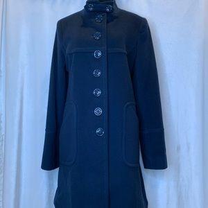Tahari navy blue 100% wool button down coat